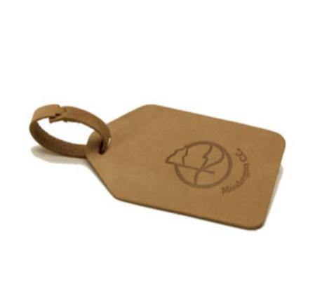 Leather Natural Bullet Nose Bag Tag