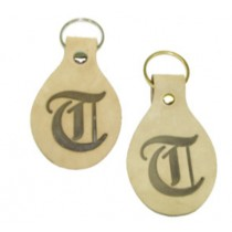 Natural Leather Tear Drop Keychain