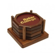 Octagon Wood Coaster Set