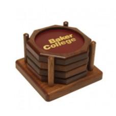 Octagon Wood Coaster Set