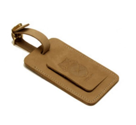 Leather Natural Rectangle Security Bag tag