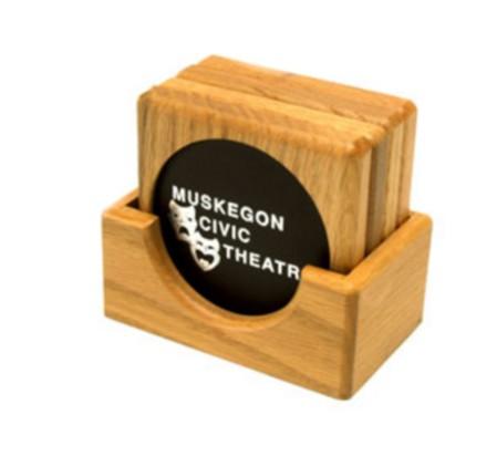 Square Wood Coaster Set
