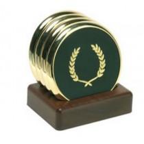 Gold Rim Circle Coaster Set